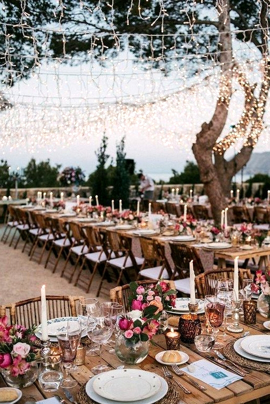outdoor rustic wedding reception ideas with string lights