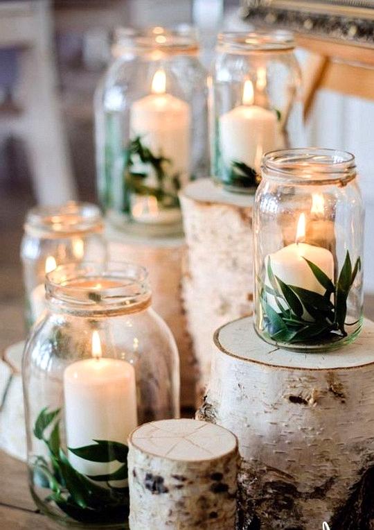 diy wedding decoration ideas with candles and mason jars