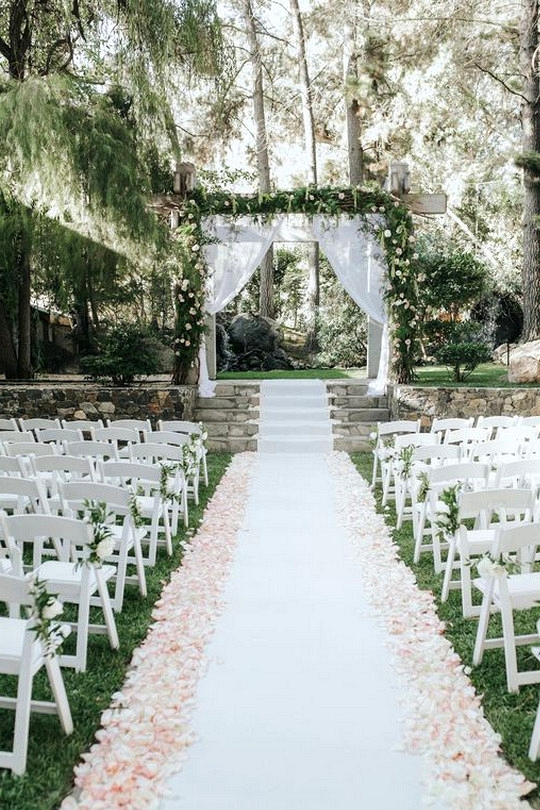 garden wedding ceremony arch and aisle decoration ideas
