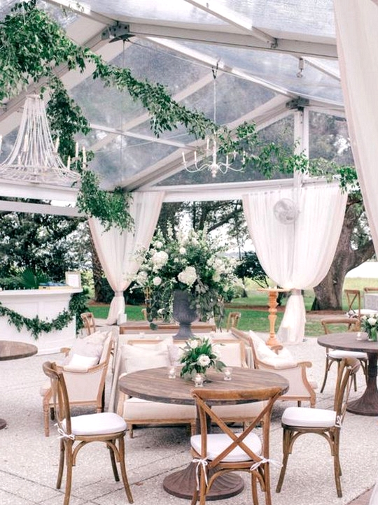 intimate tented garden wedding reception ideas
