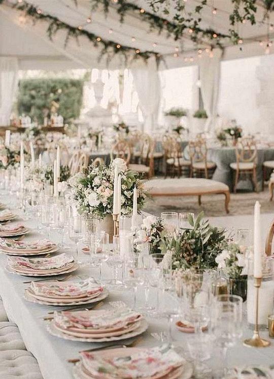 romantic pink and sage garden wedding reception ideas