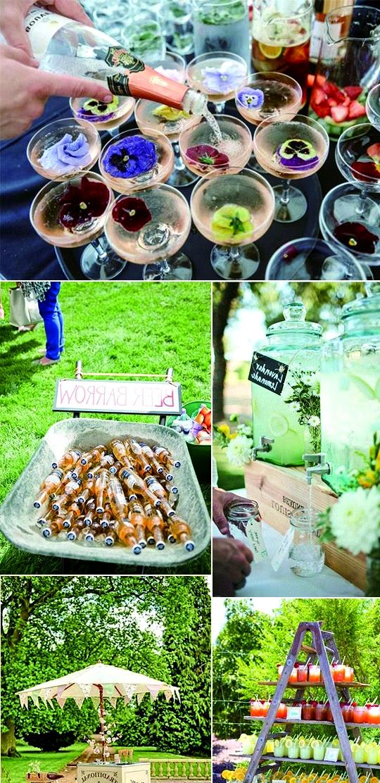garden wedding drink station bar ideas