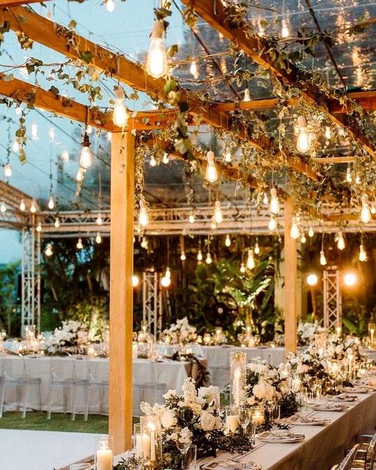 romantic outdoor wedding lighting decoration ideas