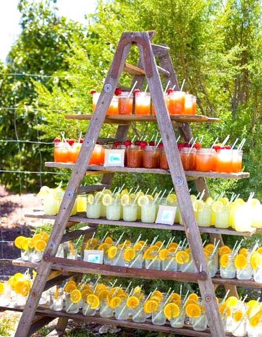 outdoor garden wedding drink station
