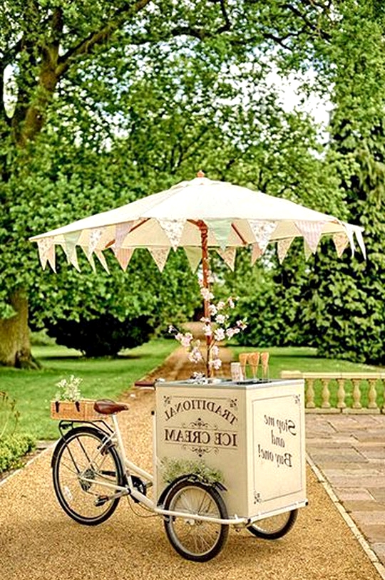 garden themed wedding ice cream tricycle