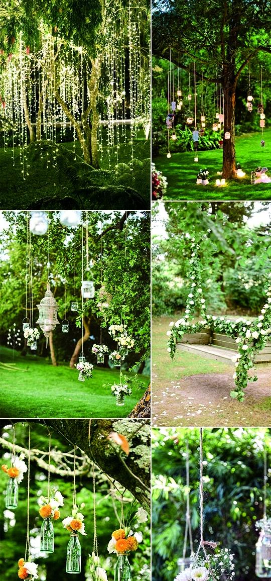 outdoor garden wedding hanging decoration ideas