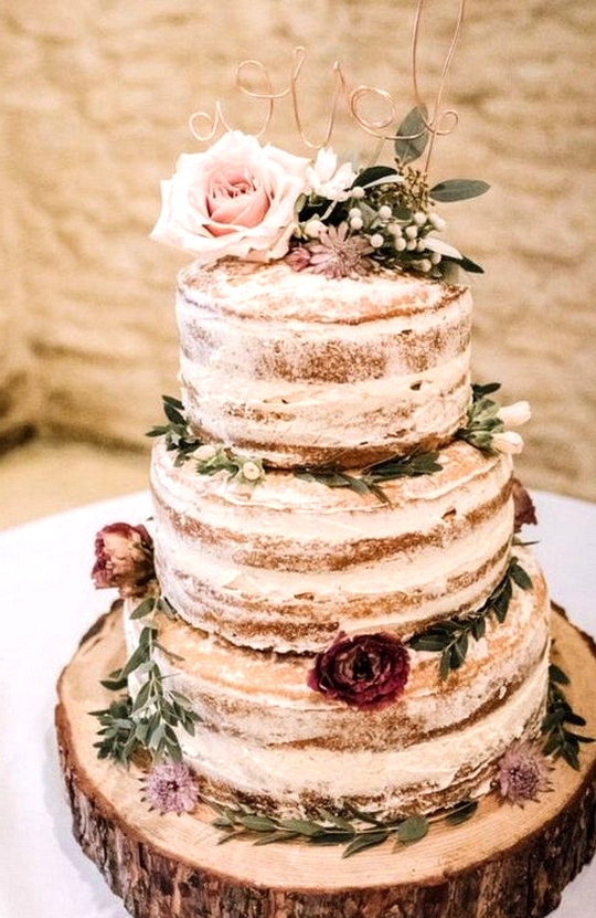rustic semi naked floral wedding cake