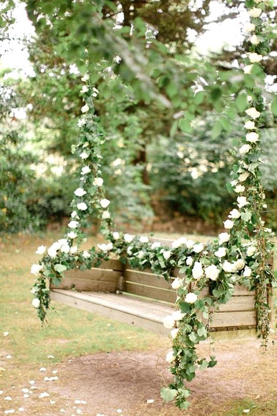garden wedding ideas flower swing
