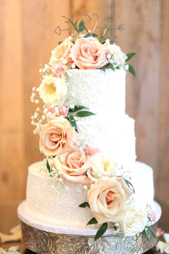 spring summer floral wedding cake