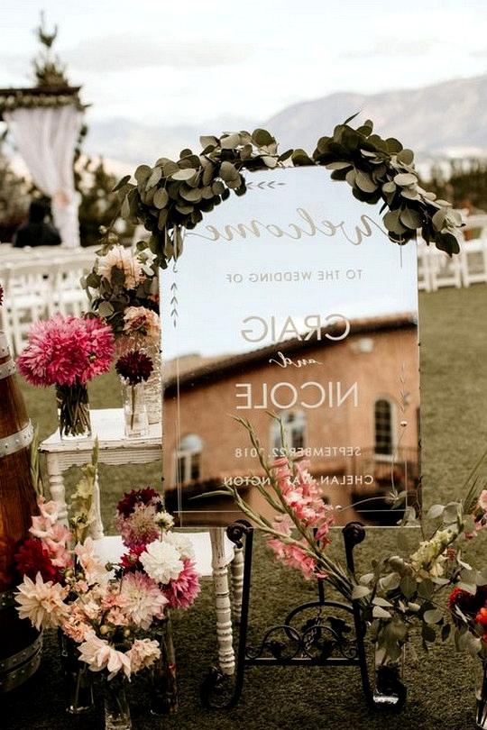 mirror outdoor wedding welcome sign