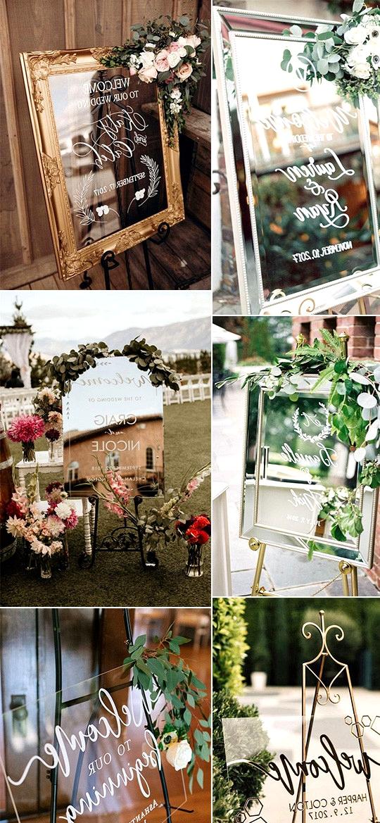 chic mirror wedding welcome sign ideas