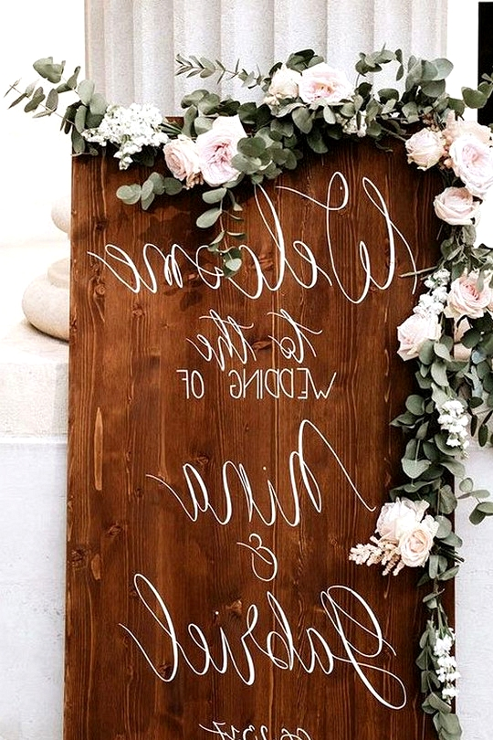 chic elegant wooden wedding sign with floral