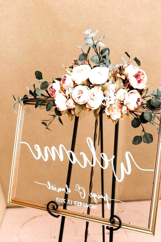 chic acrylic wedding welcome sign with floral