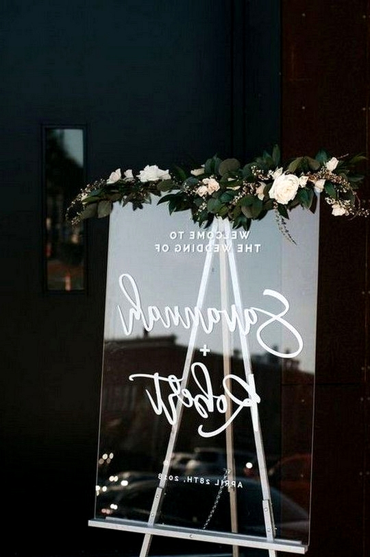 chic modern acrylic wedding welcome sign with floral