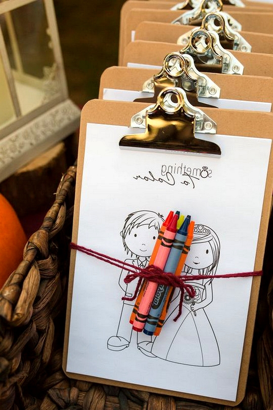 clipboards for kid tables at weddings
