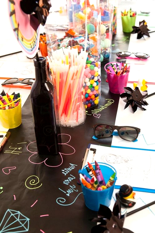 colorful kids table wedding ideas