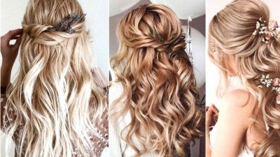 Half Up Half Down Wedding ceremony Hairstyles