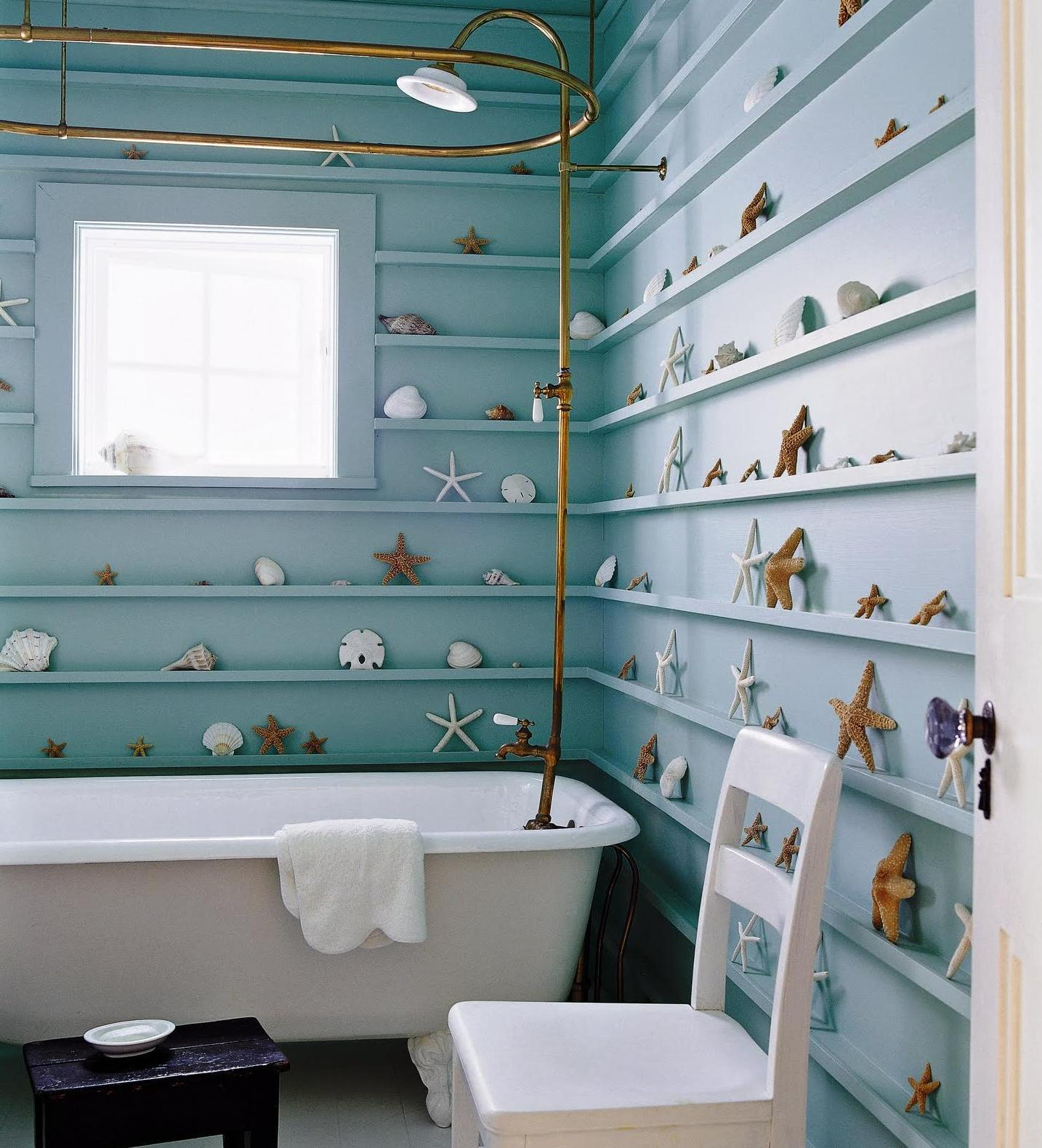 Beach-styled fixtures for a nature-inspired kids bathroom