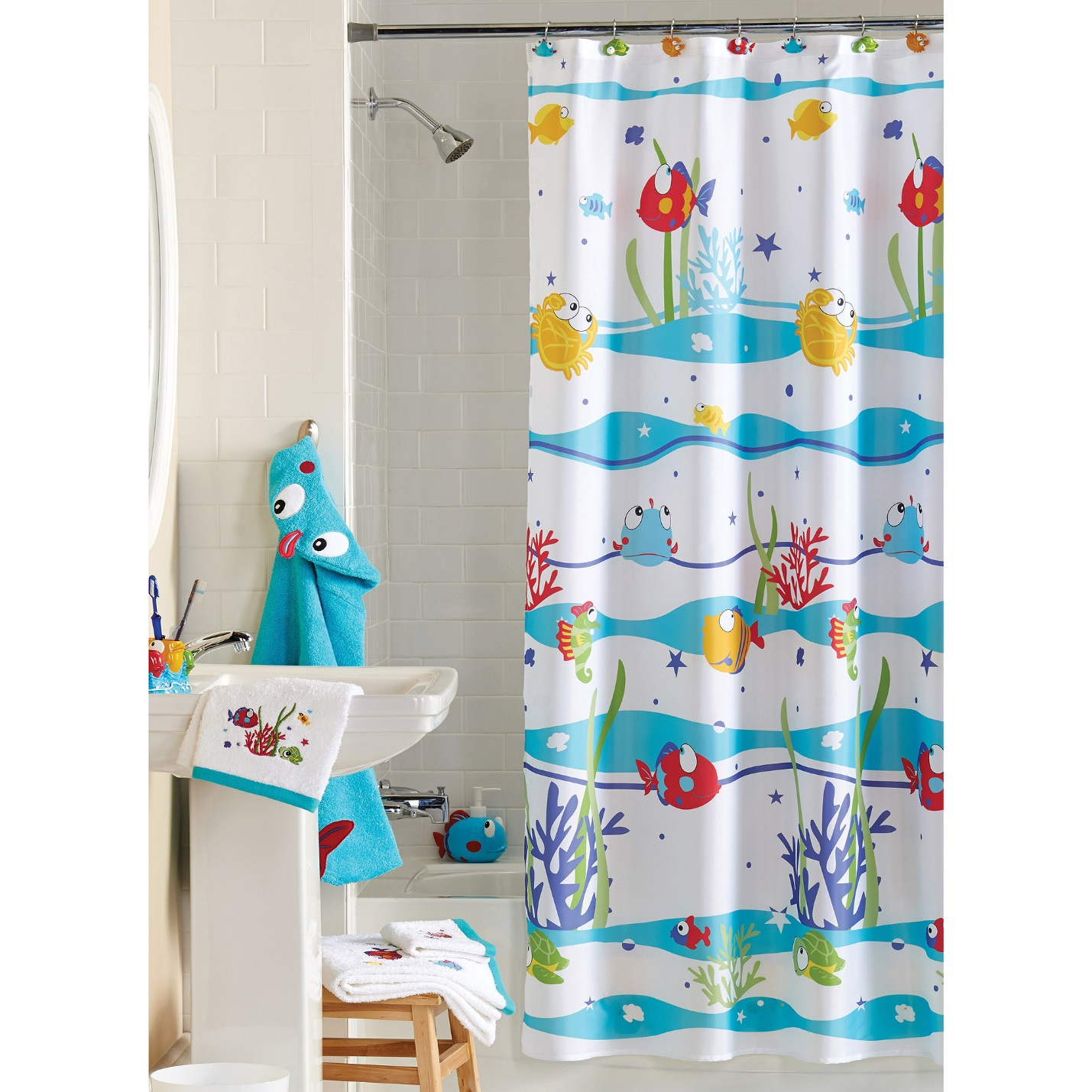 Fun patterns or prints in shower curtains