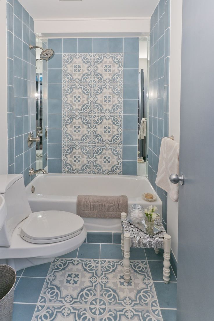 Blue Bathroom with Patterns