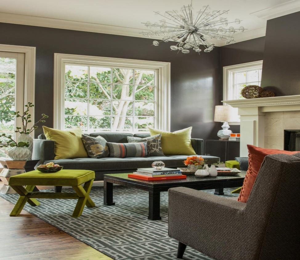 Grey Mid-Century Modern Living Room Ideas
