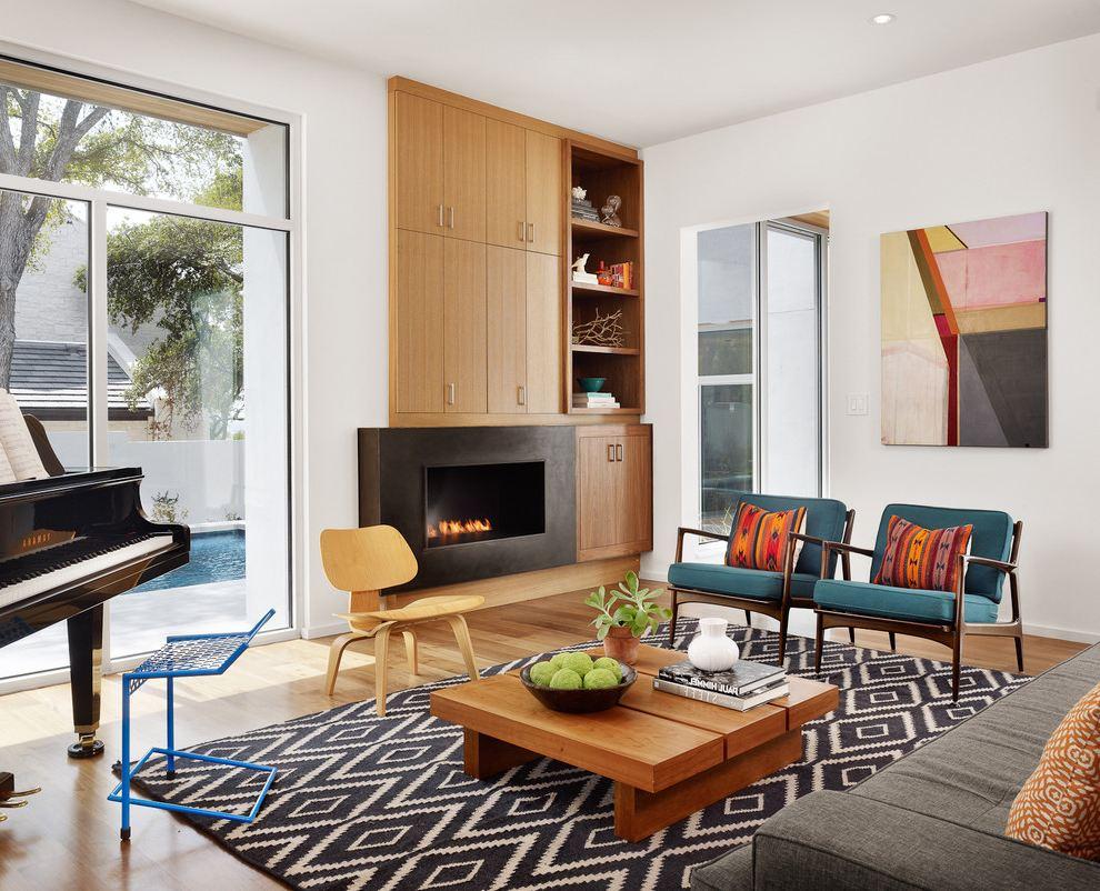 Fabric Mid-Century Modern Living Room Ideas