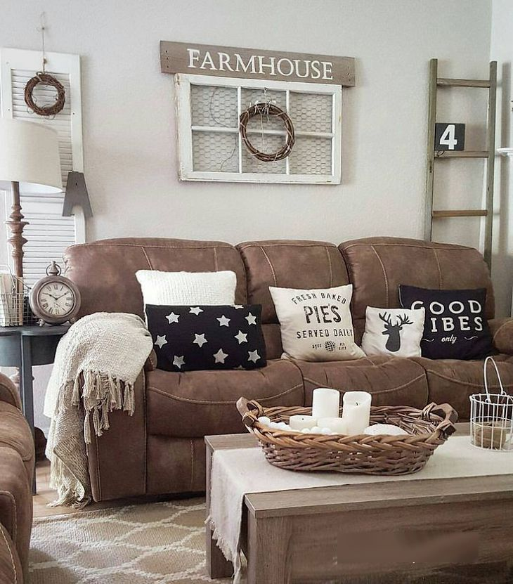 Style it with glam vintage brown couches