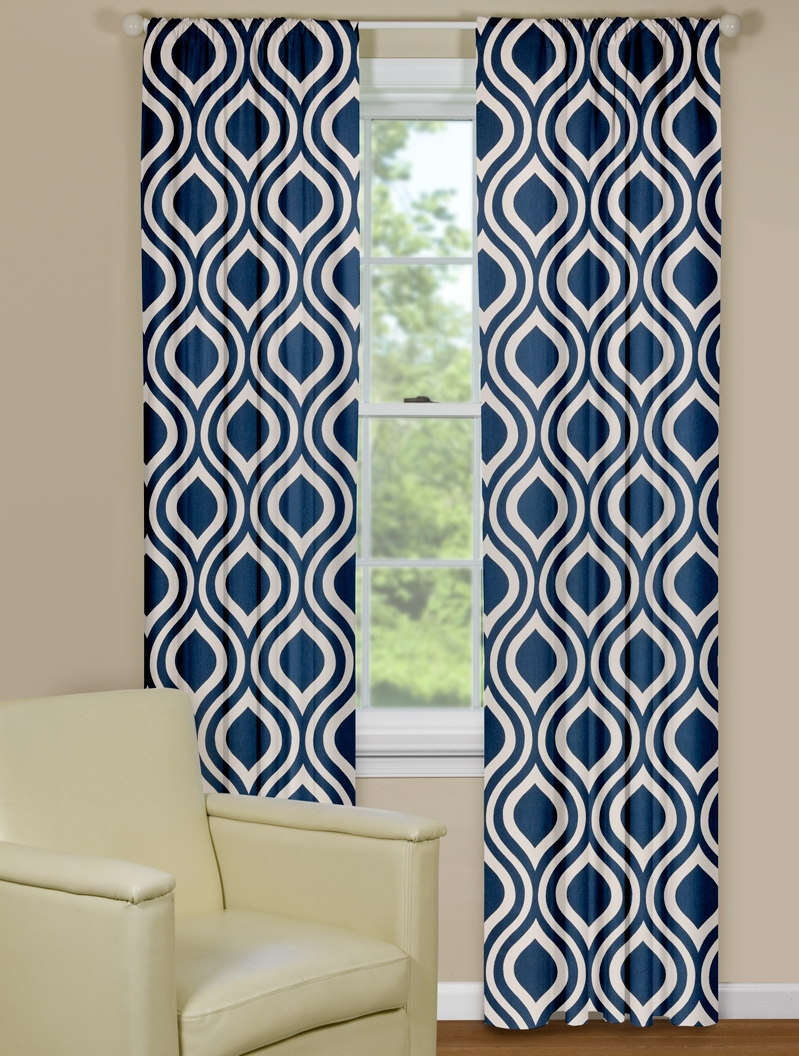 Warm blue patterned curtains
