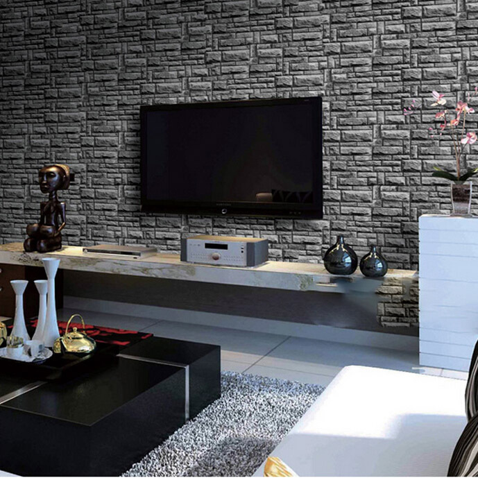 Accentuate grey with a warm brick backdrop