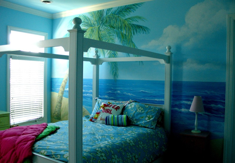 Blue bedroom with beach atmosphere