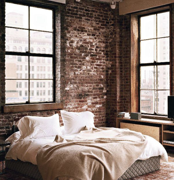 Use unusual Exposed Bricks for the bedroom wall