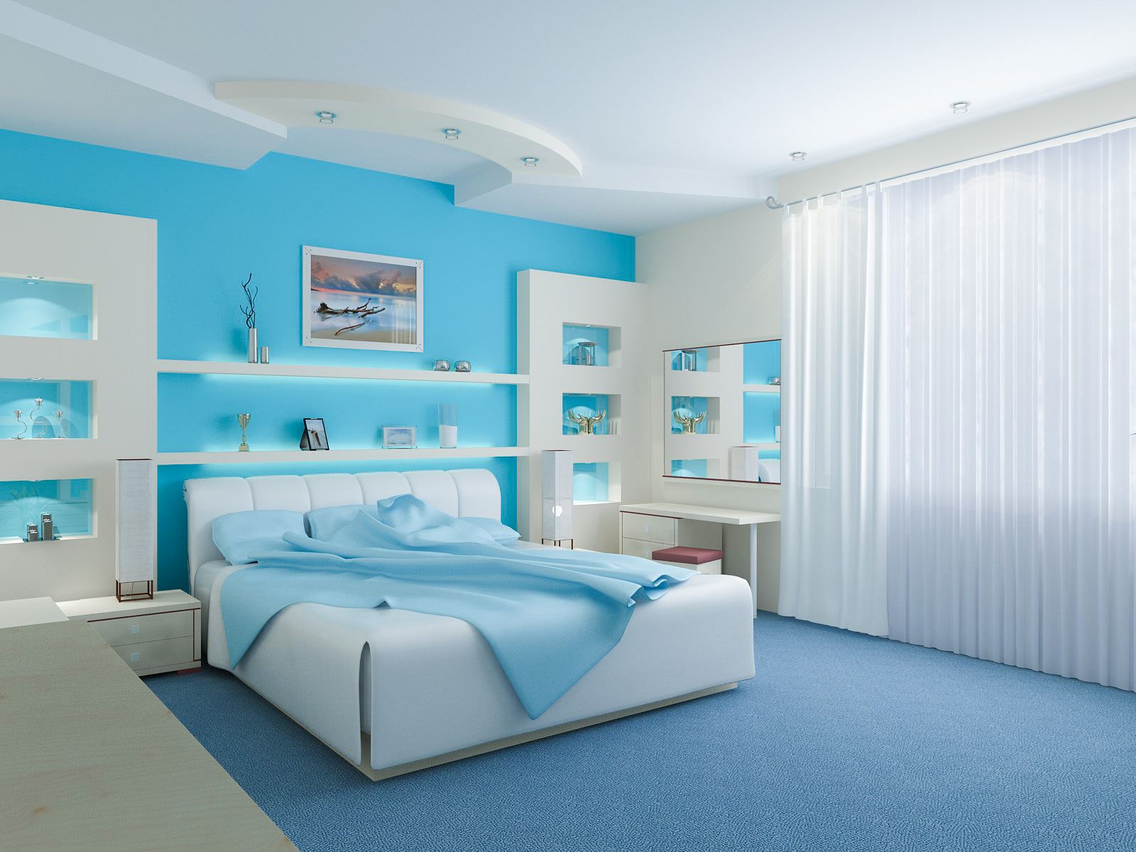 Teenage Girl Bedroom Blue Color Idea
