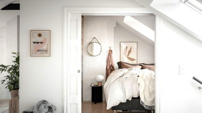 Small but trendy attic bed room