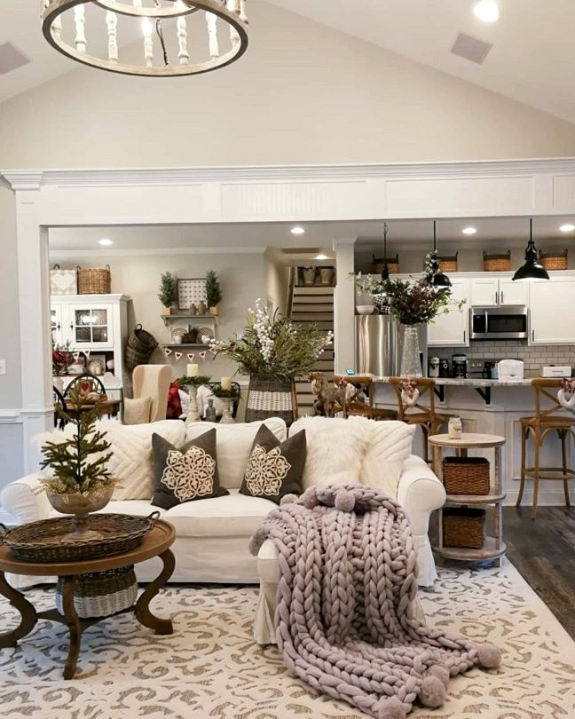 real life country farmhouse living room open kitchen decorating idea