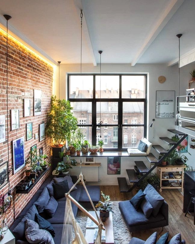 loft with many indoor plants
