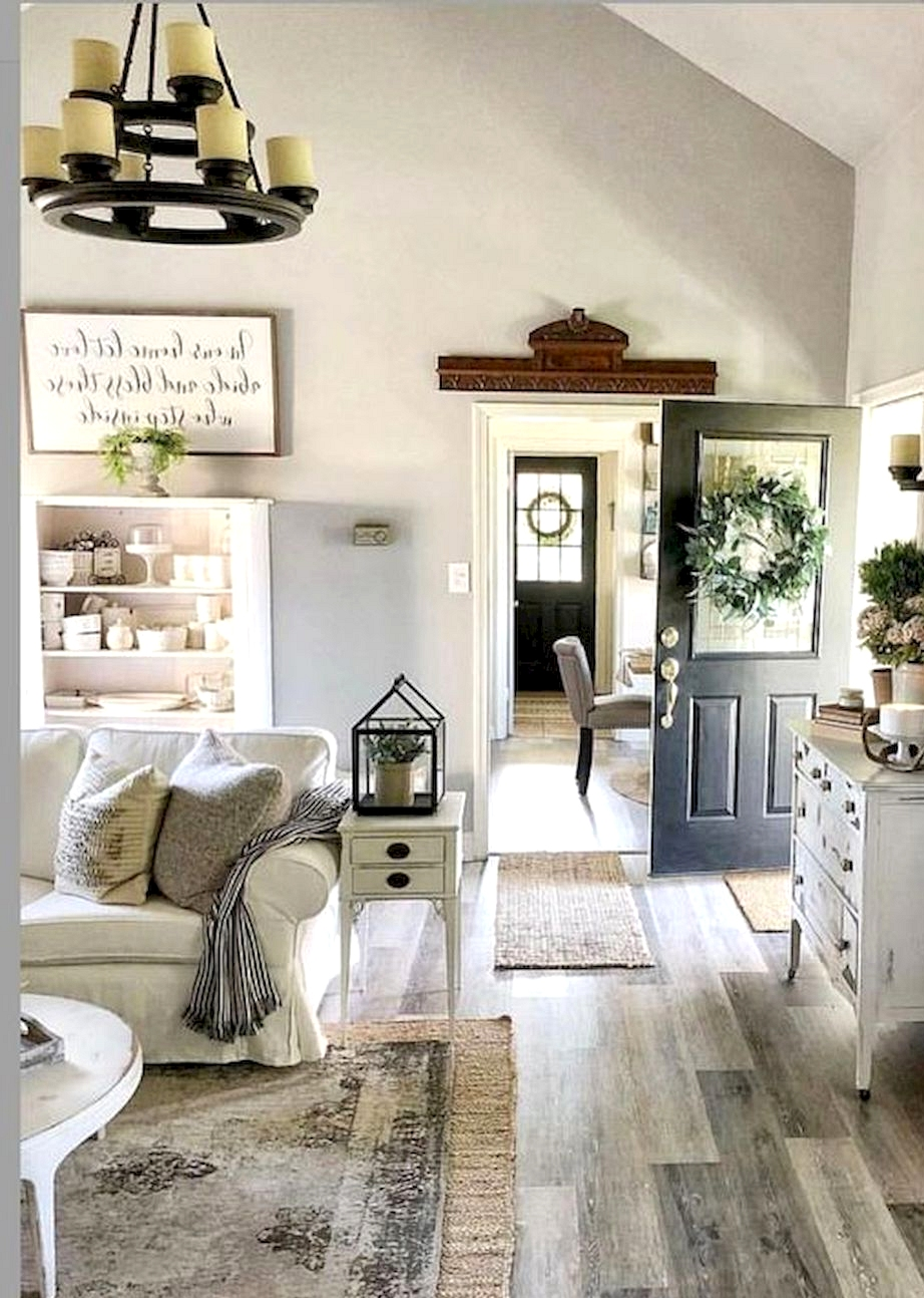 country style living room with high ceilings