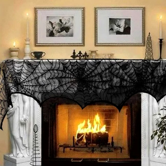 Halloween Decoration Black Lace Spiderweb Fireplace Mantle