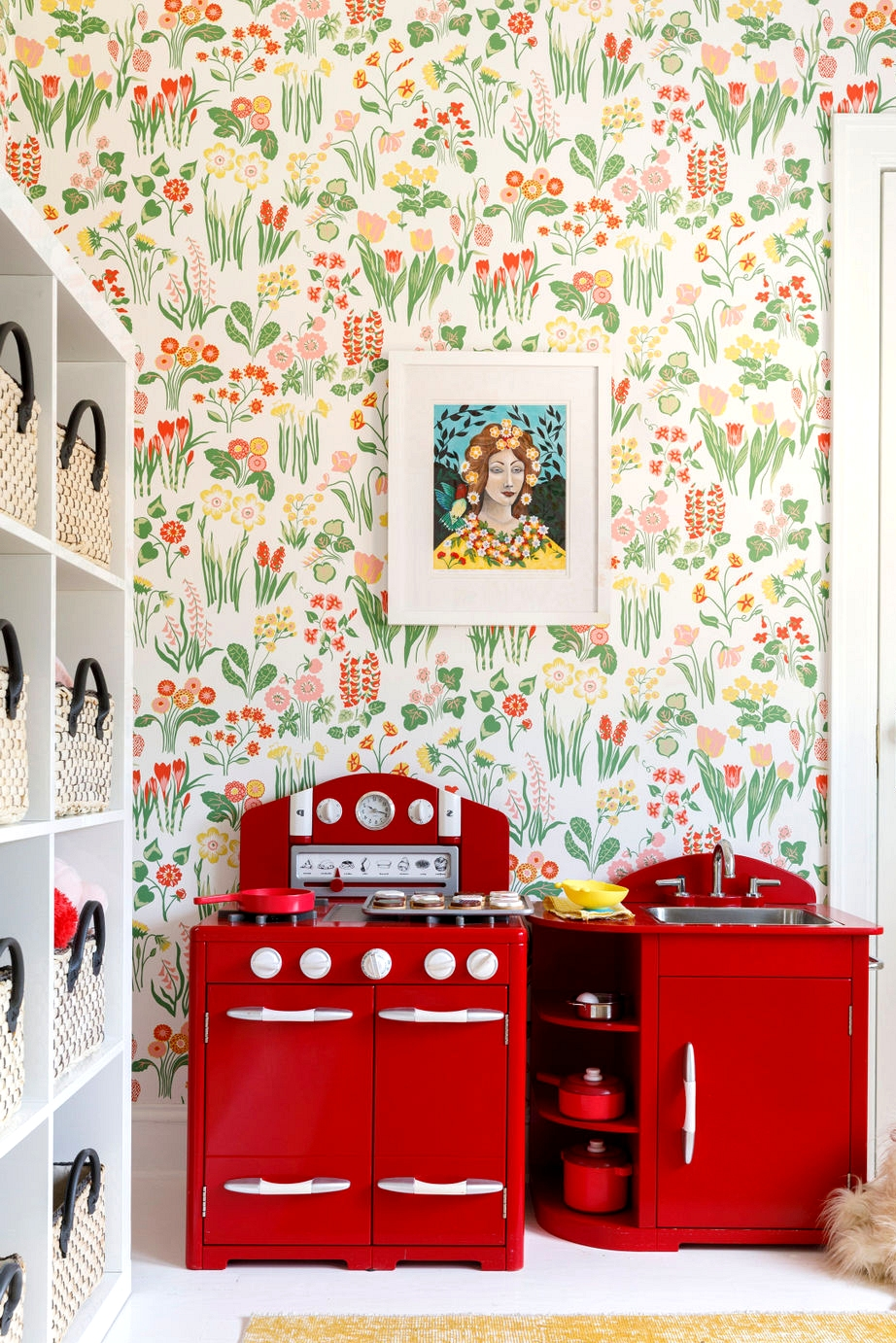 centered by design playroom wallpaper makeover red kitchen play set