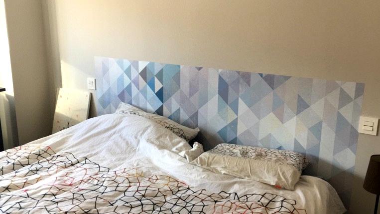 Self-adhesive-vinyl-for-headboard-of-double-bed-mosaic-triangles-blue-serenity-lokoloko
