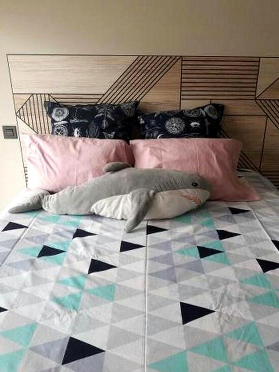 Headboard-of-bed-with-self-adhesive-vinyl-geometric-wood-black-lokoloko