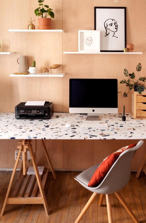 Renovate-desk-table-with-vinyl-for-furniture-washable-dark-terrazzo-office-fabricadeimaginacion-lokoloko