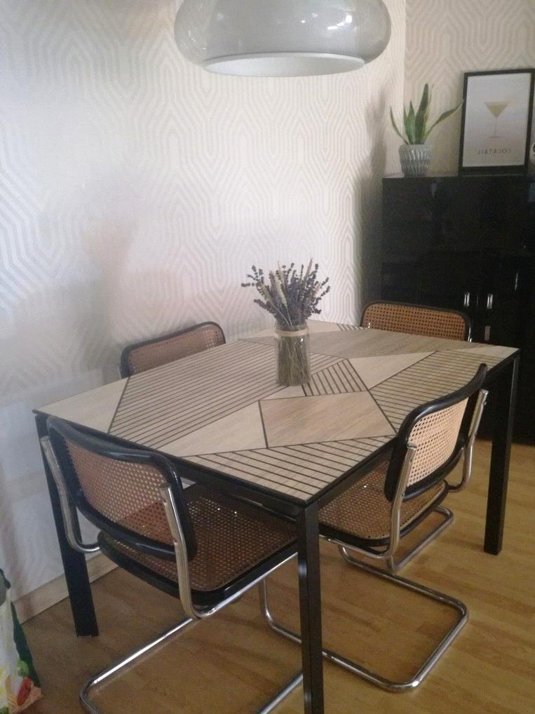 Dining-table-renovated-with-vinyl-self-adhesive-washable-black-geometric-wood-mosaic-lokoloko