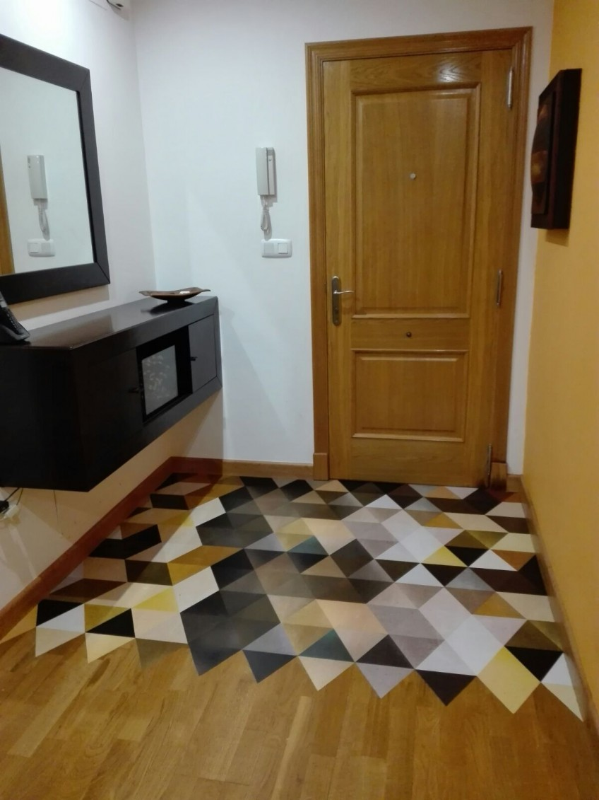 Self-adhesive-vinyl-for-floor-washable-warm-abstract-triangles-decorate-hall-of-house-lokoloko