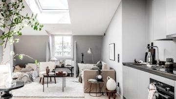 Cozy attic dwelling in gray