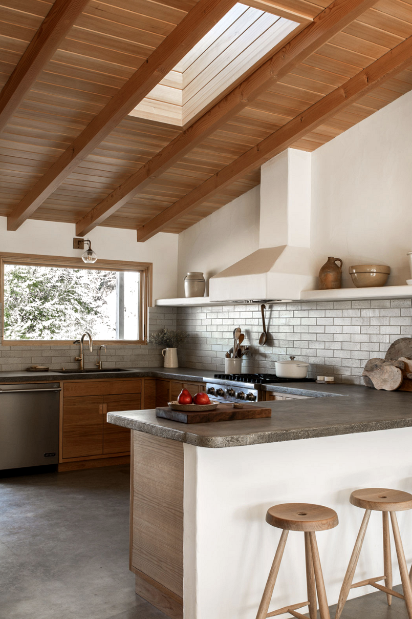 modern desert adobe house tour concrete countertops and natural kitchen