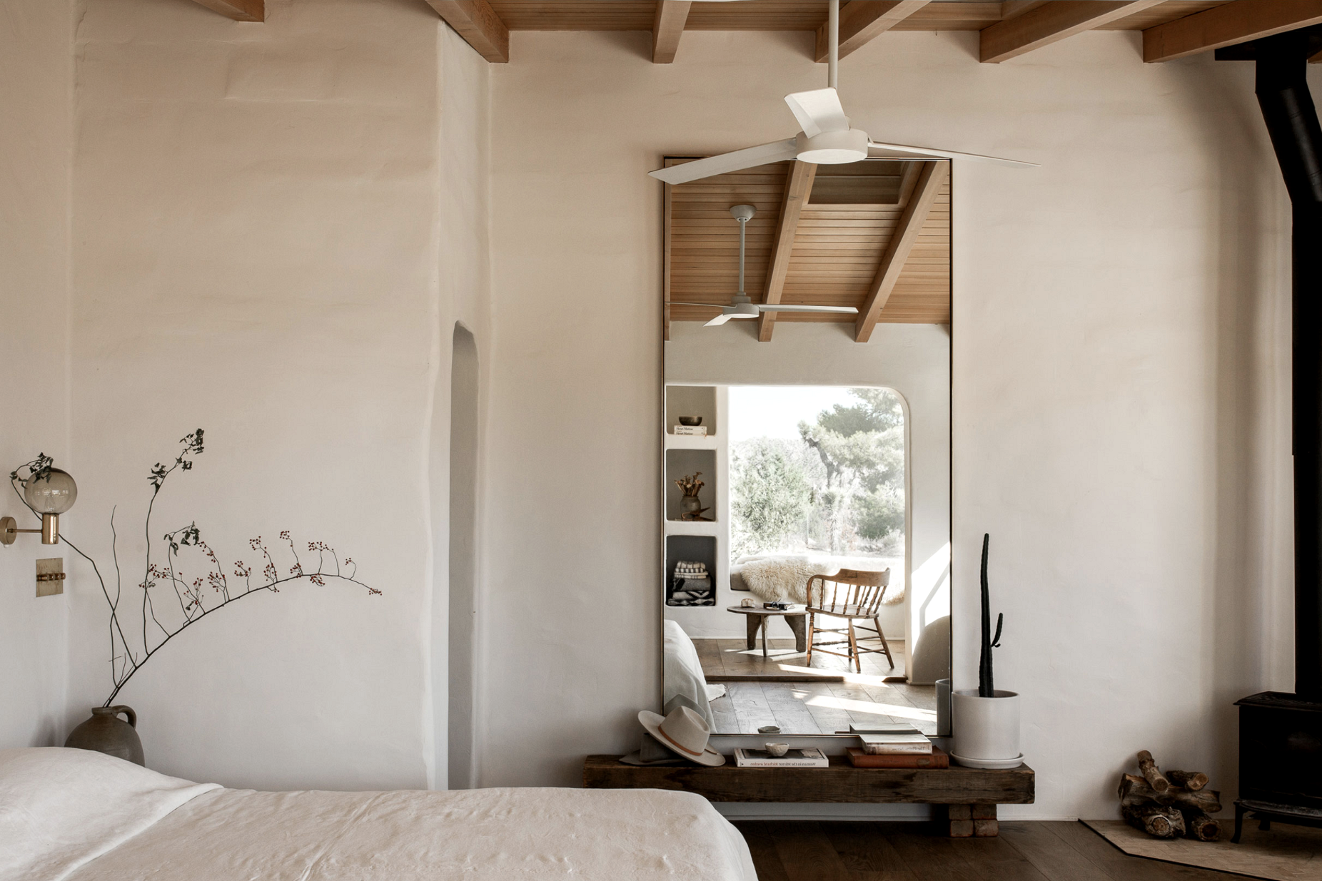modern desert adobe house tour minimalist bedroom