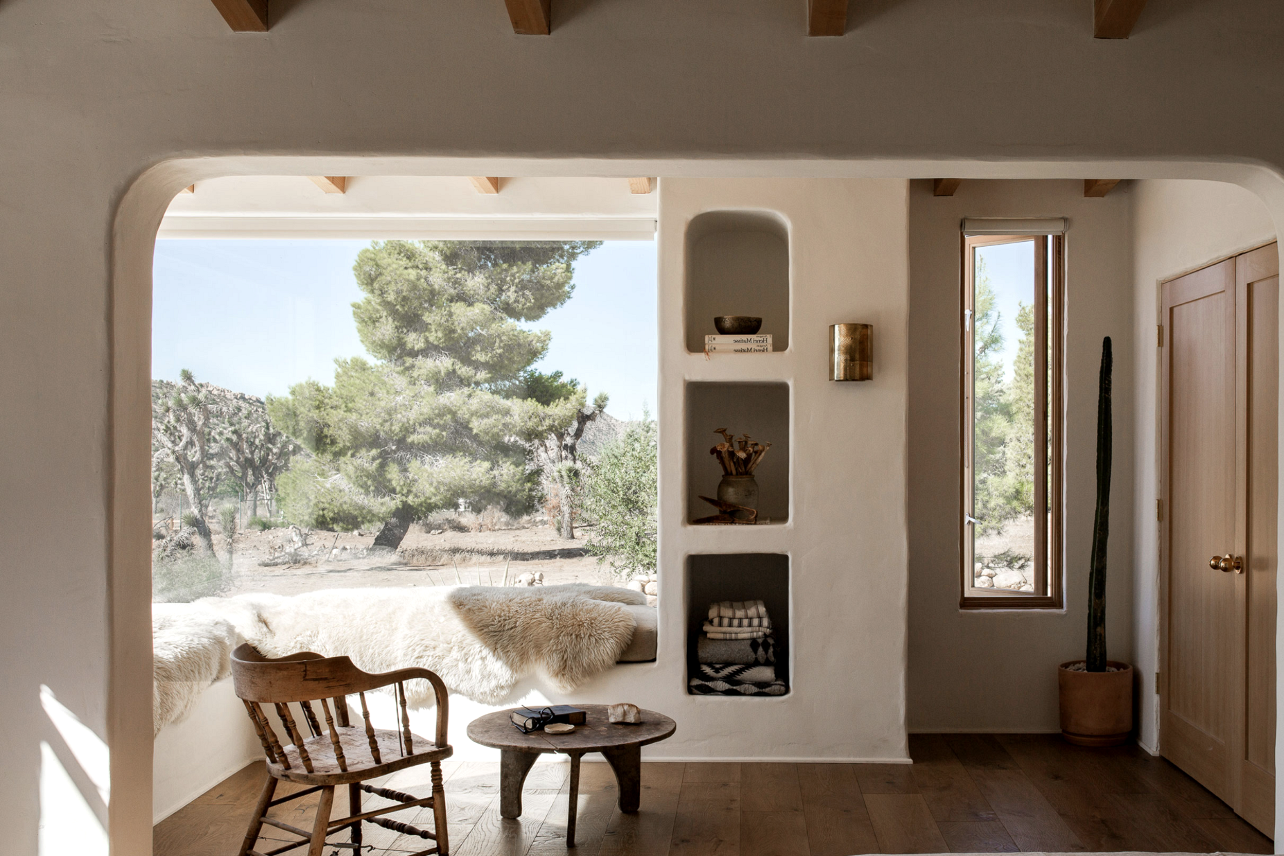 modern desert adobe house tour living room view